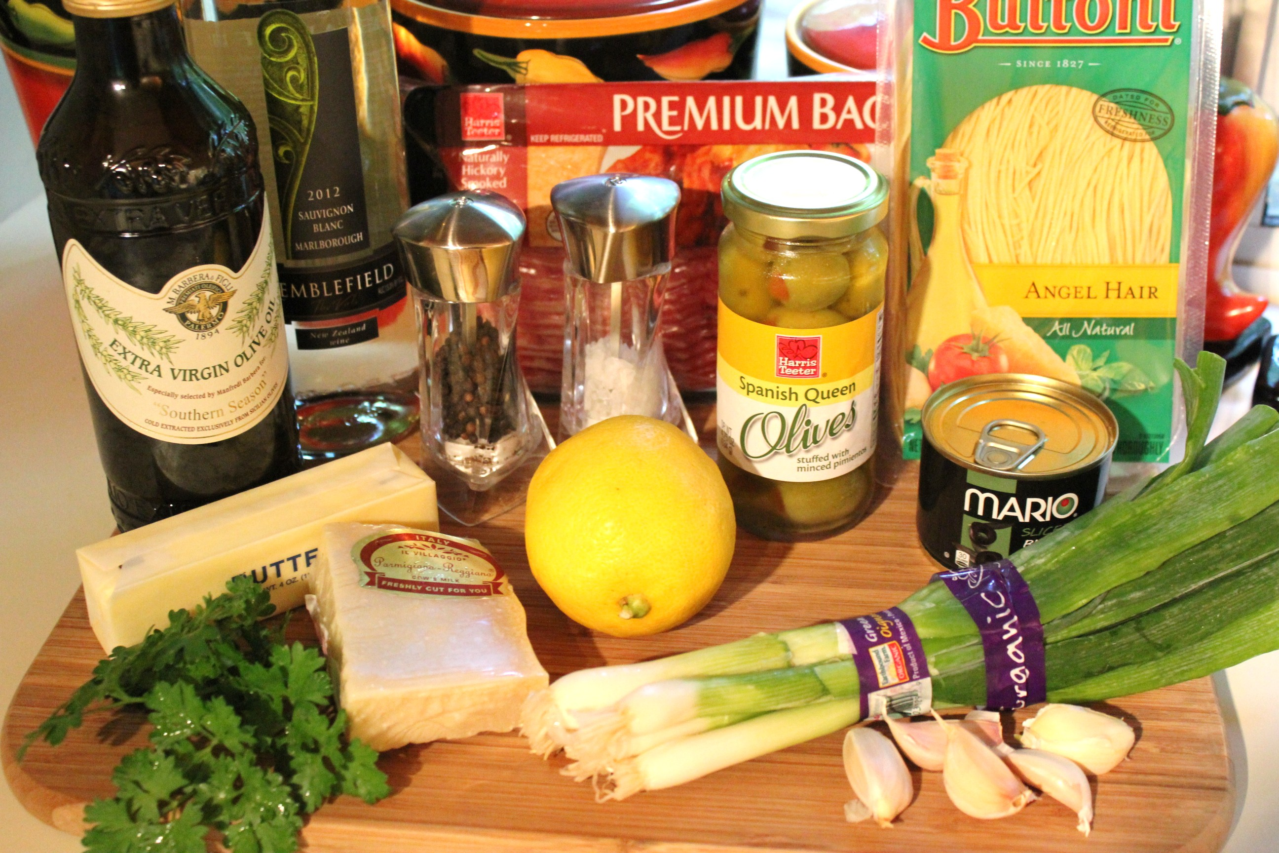 Lemony-garlic angel hair ingredients